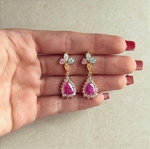Brinco Bahamas Cravação Pedras Fusion Colorida e Zircônias Diamond Dourado