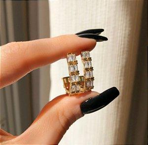 Argola Portugal Dupla com Zircônias Diamond Dourado