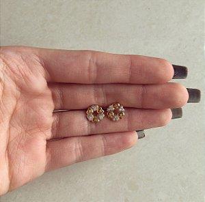 Brinco Corações Lisos e Cravejados de Zircônia Diamond Dourado