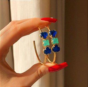Argola Corações Zircônias Azul Marinho e Verde Água Dourado