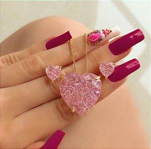 Conjunto Luxuoso Coração Pedra Fusion Safira Rosa Dourado