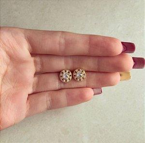 Brinco Redondinho com Maxi e Micro Zircônias Diamond Dourado
