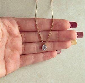 Corrente Ponto de Luz Médio de Maxi Zircônia Diamond Dourado