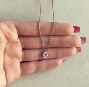 Corrente Ponto de Luz Médio Maxi Zircônia Diamond Ródio Branco