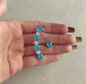 Ear Cuff Grécia Corações Zircônias Leitosa Azul Claro e Diamond Ródio Branco