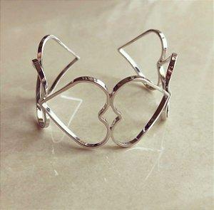 Bracelete Maxi Corações Vazados Ródio Branco