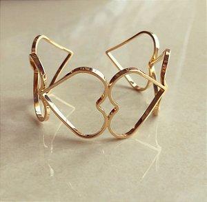 Bracelete Maxi Corações Vazados Dourado