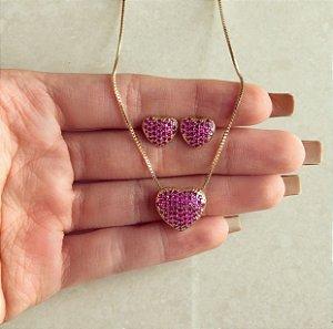 Conjunto Coração Micro Zircônias Rosa Pink Dourado
