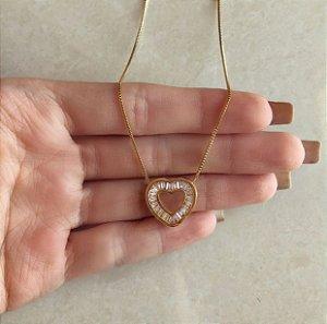 Corrente Coração Navetes de Zircônias Diamond Dourado