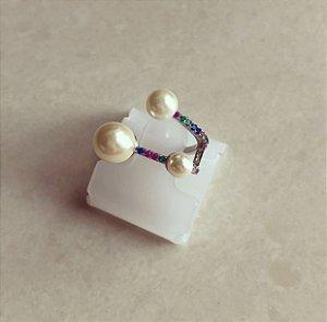 Anel Luxury Pérolas com Micro Zircônias Colorida Ródio Branco