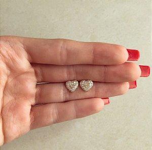 Brinco Coração Mil Zircônias Diamond Dourado