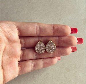 Brinco Gota Cravação Mil Zircônias Diamond Dourado