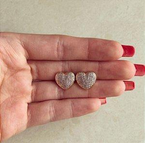Brinco Maxi Coração Cravação Mil Zircônias Diamond Luxo Dourado