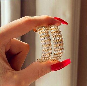Argola Maragogi Mil Zircônias Diamond Dourado