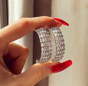 Argola Maragogi Mil Zircônias Diamond Ródio Branco