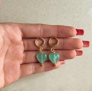 Argolinha Coração Pedra Verde Água Dourado