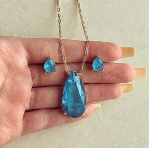 Conjunto Elos Gota Pedra Fusion Azul Turquesa Dourado