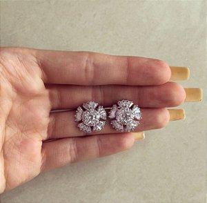 Brinco Redondo Santorini Mil Zircônias Diamond Ródio Branco