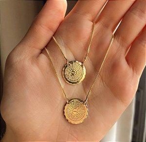 Escapulário Medalhas com Oração do Pai Nosso Dourado