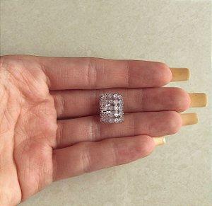 Maxi Piercing de Pressão Mil Pontos de Zircônias Diamond Ródio Branco