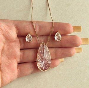 Conjunto Gota Pedra Raiada Diamond Dourado