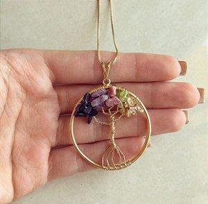 Colar Mandala Árvore da Vida com Pedras Naturais Mistas II Dourado