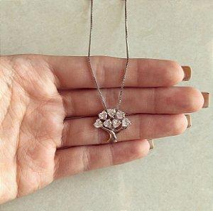Corrente Árvore da Vida de Corações de Zircônias Diamond Ródio Branco