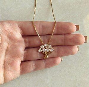 Corrente Árvore da Vida de Corações de Zircônias Diamond Dourado