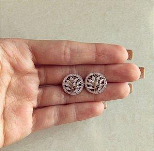 Brinco Árvore Mil Navetes de Zircônias Diamond Ródio Branco