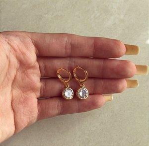 Argolinha Cristal Grande Diamond Dourado