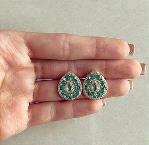 Brinco Maxi Gota Luxury Zircônias Verde Turmalina e Diamond Dourado