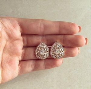 Brinco Maxi Gota Luxury Mil Zircônias Diamond Dourado