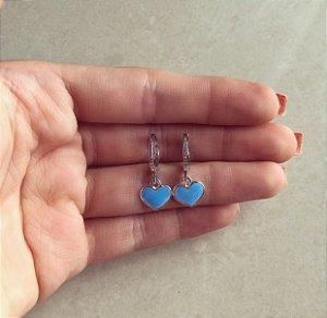Argolinha Coração Esmaltado Azul Turquesa Ródio Branco