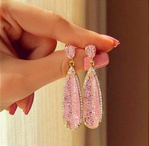 Brinco Marrocos Pedra Fusion Safira Rosa e Zircônias Diamond Dourado