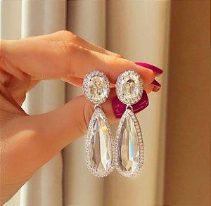 Brinco Luxuoso Paraty Cristal Diamond e Zircônias Diamond Ródio Branco
