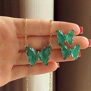 Conjunto Elos Luxuoso Borboleta Cristal Verde Turmalina e Zircônias Verde Dourado