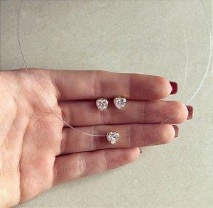 Conjunto Nylon Coração de Zircônia Diamond Dourado