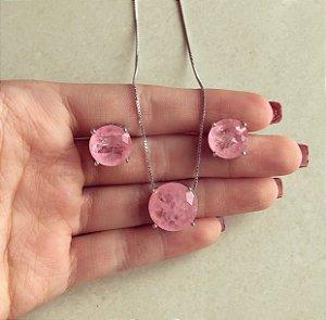 Conjunto Redondo Pedra Fusion Safira Rosa Ródio Branco