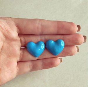 Brinco Maxi Coração Esmaltação Azul Neon Dourado