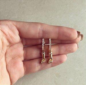 Argolinha Figa Cravação de Zircônias Diamond Dourado