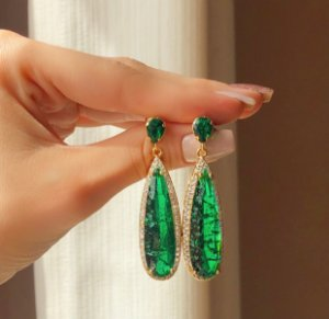 Brinco Marrocos Pedra Fusion Verde Esmeralda e Zircônias Diamond Dourado