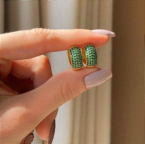 Argolinha Grande Maceió Mil Zircônias Verde Esmeralda Dourado
