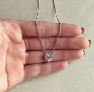 Corrente Coração Ponto de Luz Zircônia Diamond Ródio Branco
