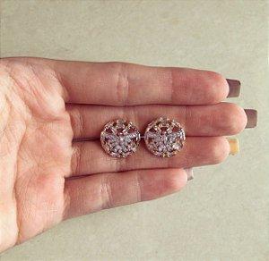 Brinco Redondo Espírito Santo com Zircônias Diamond no Ródio Branco e Dourado