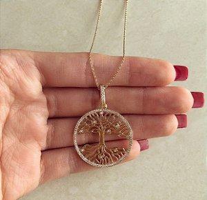 Corrente Mandala Árvore da Vida com Cravação de Zircônias Diamond Dourado