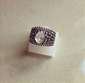 Anel Luxuoso Cravação Mil Zircônias Diamond e Gota de Pedra Fusion Diamond Ródio Negro