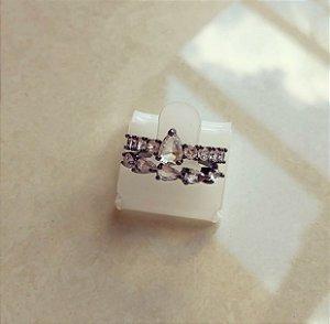 Anel Duplo Pedras Fusion Diamond e Cravação de Zircônia Diamond Ródio Negro