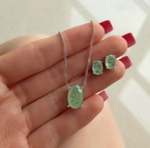 Conjunto Bolinha Delicado com Pedra Fusion Verde Paraíba e Zircônias Diamond na Lateral Ródio Branco