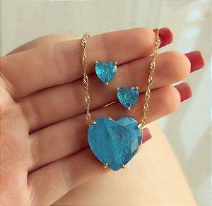 Conjunto Corrente Torcida Coração Pedra Fusion Azul Turquesa Dourado