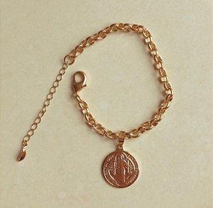 Pulseira Elos Luxo Com Medalha de São Bento Dourado